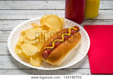 American picnic grilling outside a hot dog potato chips on a paper plate on a white weather table.