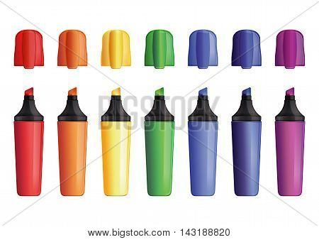 Set of colored outdoor markers with cap. Felt pen. Felt-tip pen. Vector illustration isolated on white background