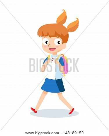 School girl goes to school with backpack cartoon character isolated on white background.