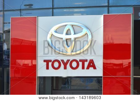 CIRCA AUGUST 2016 - GDANSK: Logo of Toyota. Toyota Motor Corporation is Japanese automotive manufacturer. It was founded in 1937.