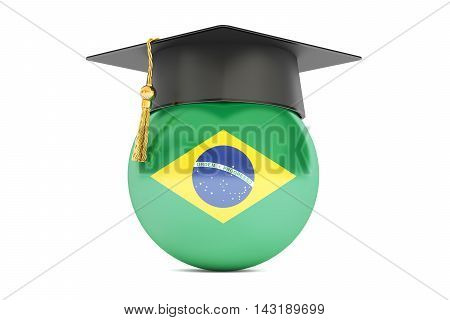 education and study in Brazil concept 3D rendering isolated on white background