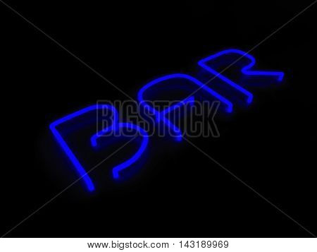 3d render bar blue neon sign isolated on black background