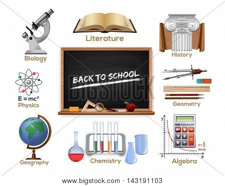 Set colored school subjects icons - biology literature history geometry geography chemistry mathematics physics. School design. Back to school. Vector icons isolated on white background