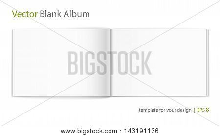 Vector blank of open album on neutral white background. Using mesh. Template