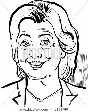 Hillary Clinton Caricature Portrait