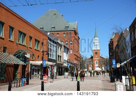 BURLINGTON, VT, USA - APR 6, 2013: Church Street Marketplace in the historic district of Burlington, Vermont, USA.