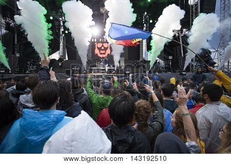 Bontida, Romania - July 16, 2016: Crowd at Dub Pistols live concert at Electric Castle festival, one of the biggest music festivals in Romania