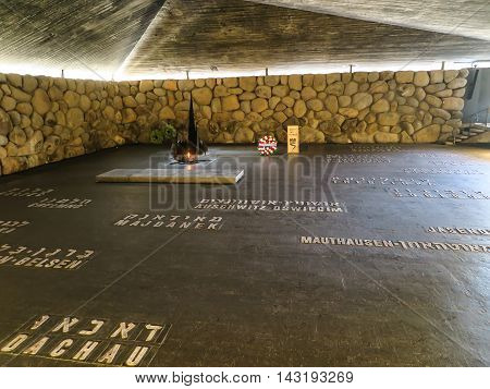 Jerusalem Israel - July 16, 2015 r .: Monument in Yad Vashem.Holocaust Memorial in Jerusalem, Israel