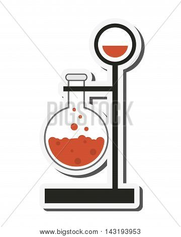 flat design round bottom flask and lab support icon vector illustration