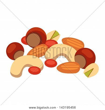Heap from various kinds of nuts. Pile of nuts almond, hazelnut, cashew, brazil nut isolated on white. Pile of nuts organic healthy seed ingredient and pile of nuts heap almond nature nuts.