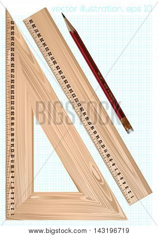 Vector wooden rulers and pensil isolated from white background vector illustration