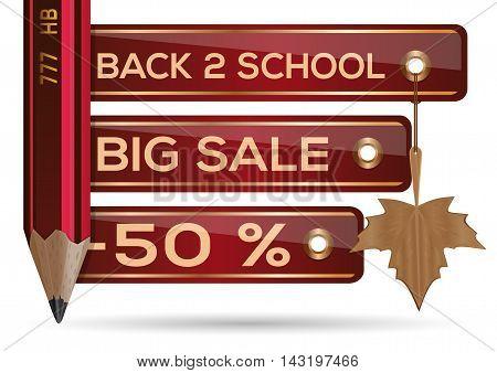 Back 2 school. Big Sale. Back to school. Discount of 50 percent. Vector illustration