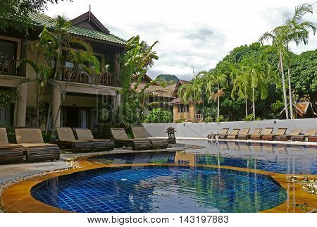 RAILAY, Thailand, 25 June 2016: Pool of Railay Bay Hotel.