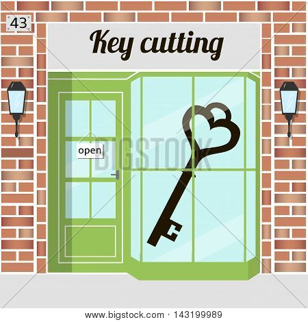 Key cutting service. Locksmith keycut. Red brick building facade. Vector illustration