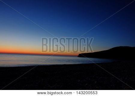 Sea Nightfall, horizon angle shot, handheld smartphone camera shot imitation