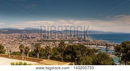 Barcelona skyline Aerial view of Barcelona, Spain