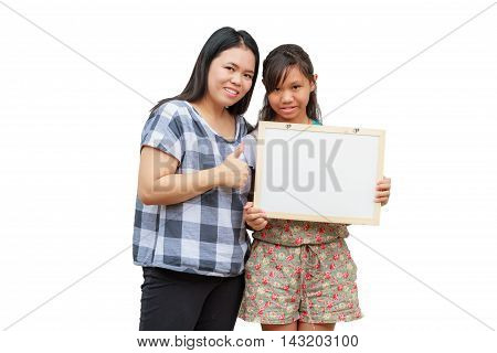 Asian thailand mother and daughter smile holding blank board isolated on white background with copy space. Board with blank can add your text or others. clipping path in picture.