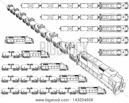 Vector illustration set with trains carrying cargo in tanks on trailers. Perspective. Outline. EPS 8.