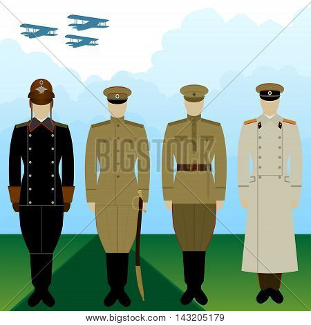 Military pilots Tsarist Russia in uniform against the background of military aircraft. The illustration on a white background.
