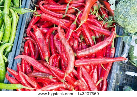 stall of chili at the flash market