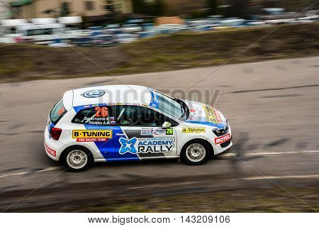 Moscow Russia - Apr 18 2015: VW Polo driver Zakharov Anton and co-driver Sevastianov Andrey during the Rally Masters Show 2015 at the Krylatskoye District.