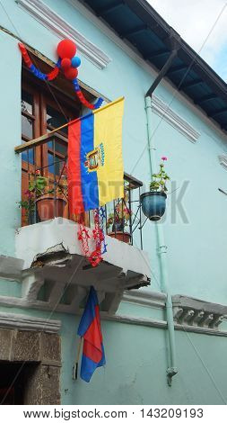 Quito Pichincha / Ecuador - August 16 2016: Traditional balcony on La Ronda streets in the historic center of Quito. The historic center was declared by UNESCO the first Cultural Heritage on 1978