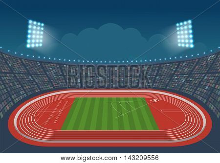 Athletics stadium for competitions. Vector. Template design