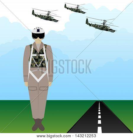 Russian military pilots in uniform against the background of military aircraft. The illustration on a white background.