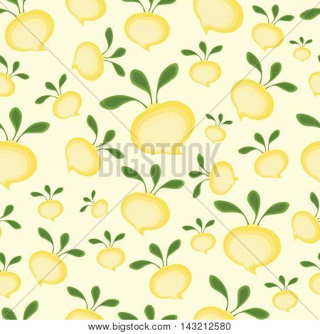 Background abstract cartoon yellow turnips with green tops.