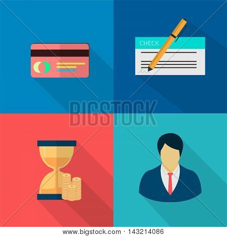 Finance and Banking   Set of great flat icons with style long shadow icon and use for finance, banking and much more.