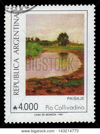 ARGENTINA - CIRCA 1991: a stamp printed in the Argentina shows landscape, painting by Pio Collivadino, argentinean artist, circa 1991