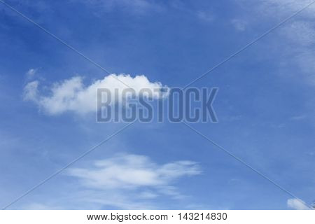 blue sky with cloud . Ultramarine blue sky vast and Soft Cloud white. and motion fluffy cloud beautiful nature : you may be used as background :