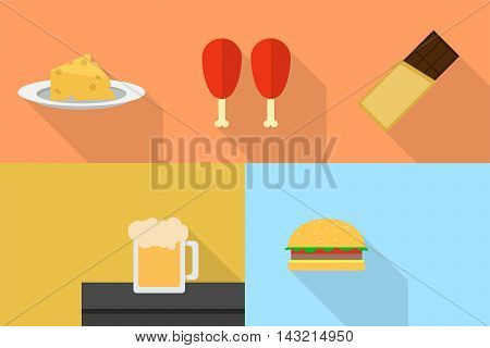 Food and Drink | Set of great flat icons with style long shadow icon and use for food, drink and much more.