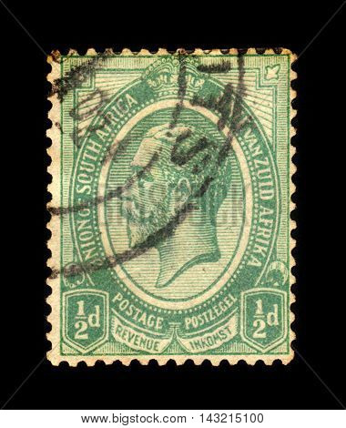 UNION OF SOUTH AFRICA - CIRCA 1913: A stamp printed in the South Africa shows King George V, green, circa 1913