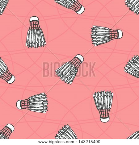 Seamless colored badminton ball pattern, shuttlecock seamless background, sport pink pattern with birdies can be used for web page backgrounds, pattern fills