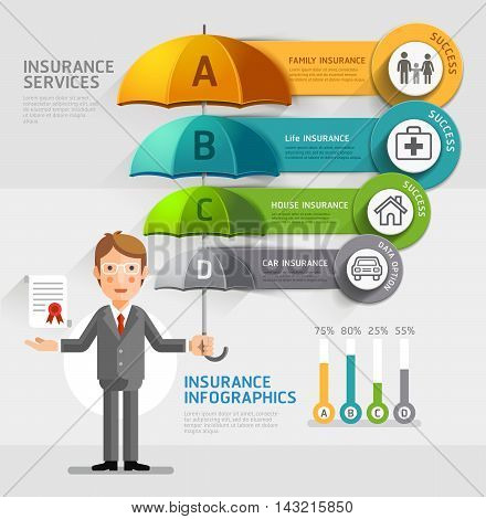 Business insurance services conceptual. Business man holding an umbrella. Vector illustrations.Can be used for workflow layout banner diagram number options web design timeline infographics.