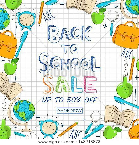 Back to school sale banner template. Vector illustration