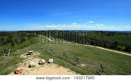 Cement Ridge split rail fence view of the Black Hills in South Dakota USA
