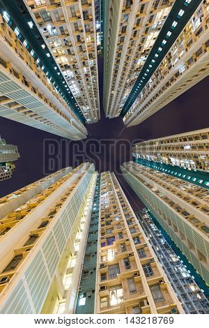 Skyscraper building from low angle at night