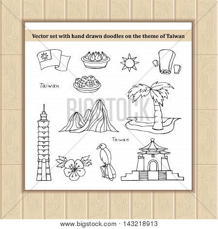 Vector set with hand drawn isolated doodles of Taiwan. Flat illustrations on the theme of travel tourism symbols of Taiwan. Sketches for use in design, web site, packing, textile, fabric
