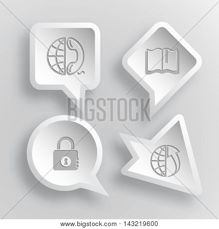 4 images: globe and phone, book, closed lock, globe and array up. Business set. Paper stickers. Vector illustration icons.
