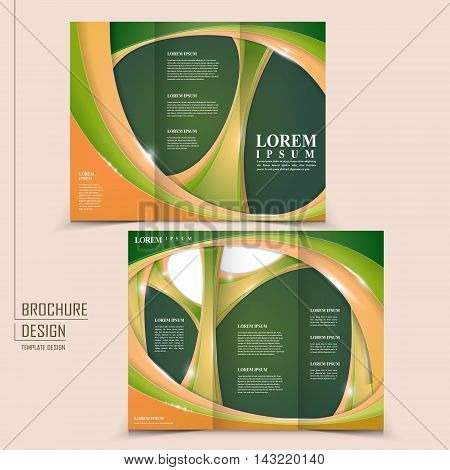 modern tri-fold template design with glossy wave elements