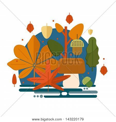 Autumn foliage composition in flat style. Fall theme banner with leaves mushroom and acorns. Flat vector illustration.