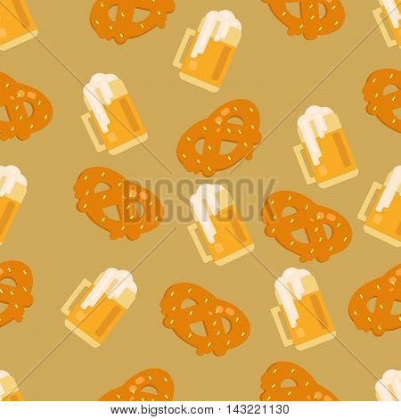 Beer and pretzel pattern. Seamless vector background for festivals restaurants menu and bars.