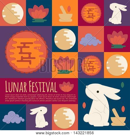 Chinese mid autumn festival icons in flat style. Vector lunar festival concept icons with rabbit mortar and pestle moon cake and lotus flower for web mobile party invitations.