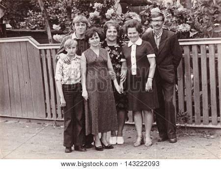 LEPEL BELARUS - CIRCA 1980: Group black and white family photo at celebration of wedding of relative (vintage photo approximately 1980th year)