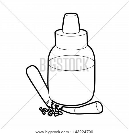 Refill bottle and cigarette icon in outline style isolated on white background