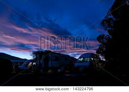 Campervans At Peketa Beach, Kaikoura, South Island Of New Zealand