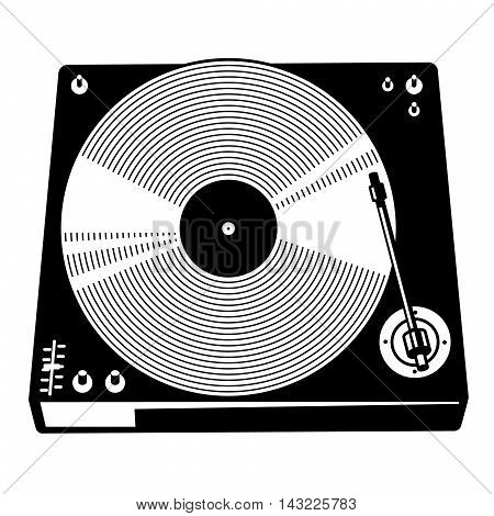 Retro turntable silhouette. Vector isolated illustration with vinyl records in black and white minimalistic style. Design element for placards for party