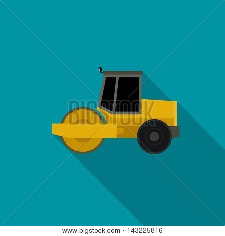 Asphalt compactor in flat style. Vector icon of road roller compactor.